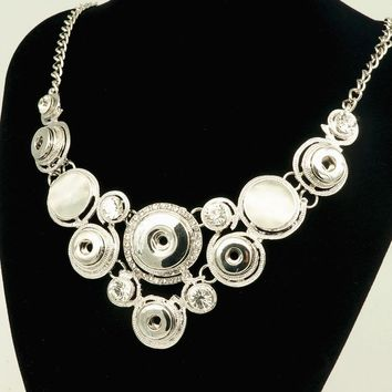 Fashion Snap Necklace DIY jewelry Rhinestone Cat eye's Fittings fit DIY 18MM&12MM snap buttons jewelry