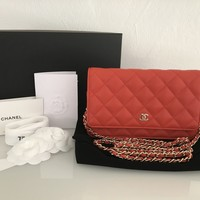 CHANEL WOC Wallet On Chain Caviar Coral Gold Rechnung Vestiaire collective