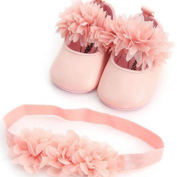 New summer flower style Infant baby girls shoes + headband first walker princess set dress soft sole mary jane shoes