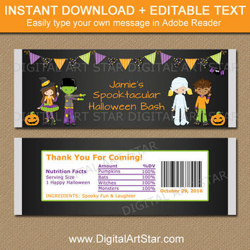 Halloween Candy Bar Wrappers, Printable Halloween Labels, Editable Kids Halloween Party Favors, Black Halloween Favors Instant Download HCBK