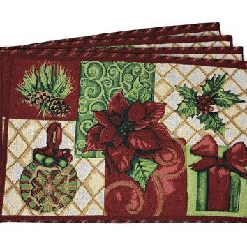 Tache 4 Pieces Holiday Christmas Tidings Tapestry Placemats (DB12900PM-1319)