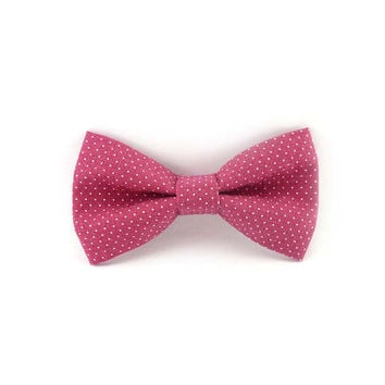 Clip on bow tie pink and white pin dots cotton - pre tied bow tie mens - womens bowtie clip-on - dusty rose polka dot bow tie vintage fabric