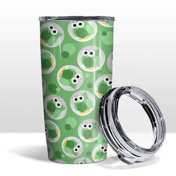Green Owl Tumbler Cup - Funny Cute Green Owl Pattern - 20oz Insulated with Clear Lid - Hot or Cold Beverages - Made to Order