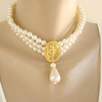 Triple Strand Pearl Choker Necklace Angel Medallion Wedding Jewelry