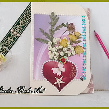 Floral sense cards.Wife greeting. Girlfriend birthday. Card for mom. Glamour cards. Mothers day card. Best friend card. Dried flower craft.