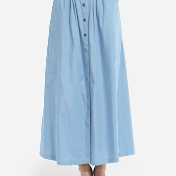 Streetstyle  Casual Loose Fitting Pockets Denim Plain Maxi-skirt