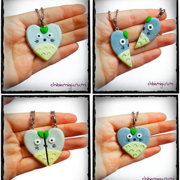 Totoro heart charm chibi necklace in polymer clay inspired from Ghibli movie - BBF - friendship - best friends forever - Valentine's day
