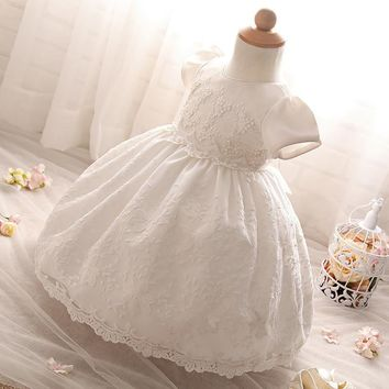 Mesh Princess Newborn Flower Dress Christening Gown Baptism Vestido Newborn Baby Girl 1 Year Birthday Dress Infant Party
