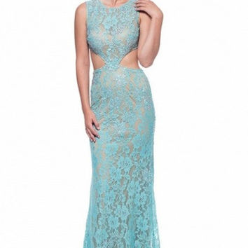 Kari Chang KC28 Aqua Blue Lace 2 Two Piece Prom Dress