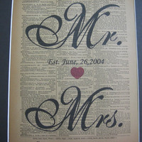 Custom Mr. & Mrs.Print  - Love and  Wedding- Est. Date - Vintage Dictionary Book Page