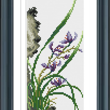 Orchid Cross Stitch Pattern, Cross Stitch, Counted Cross Stitch, Cross Stitch Chart, Xstitchpatterns, Cross Stitch Flowers