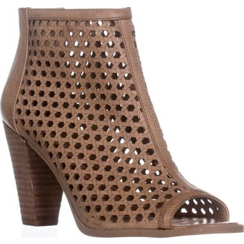 Report Ronan Perforated Ankle Booties, Tan, 8.5 US