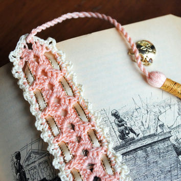 Crochet lace bookmark with a long tassel, peach, cream, sand dollar charm, summer reading