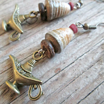 Magic Lamp Earrings - Genie Lamp Earrings - Arabic Jewelry - Middle Eastern Jewelry - Aladdin Lamp Earrings - Boho Jewelry - Hippie Gypsy