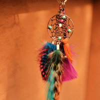 Gypsy Dreamcatcher Super Cute Feather/ Petite Bag Ring/Small Purse Charm