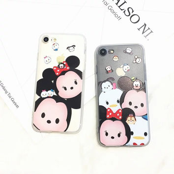 Top Dirt-resistant Hot Sale Cute Cartoon Tsum Mickey Donald Phone Case Relife Matte Black Cover For Iphones5 Se 6s Plus 7/7plus
