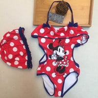 retail  Girls Swimwear Minnie Mouse  One Pieces Swimsuit Kids Ruffled Swimming Suit For Girl Children Bathing Suit