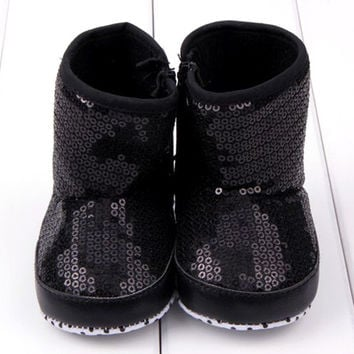 Sequin Baby Girl High Boots Soft Sole Anti Slip Warm Toddler Girls Shoes First Walkers SM6