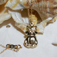 14k 3D Puffy Cat Pendant Yellow Gold w 18 inch 14k Gold Chain 1.23g