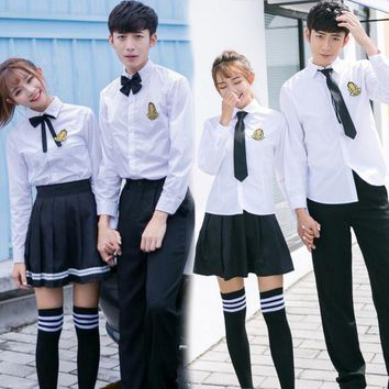2018New Japanese School Uniform Boys Classic Service England Korean Sailor Suits Graduation High School Uniform Two sets