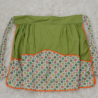 Vintage Apron 70s Kitsch Groovy Pea Green Orange Pockets Funky Patterned 1960s 1970s Retro Womens Accessories Kitchen Home House