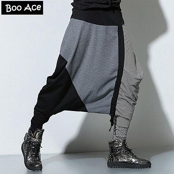 Men Patchworks Harem Pants Elastic Waist Drop Crotch Casual & Rocking & Hip Hop & Street Style