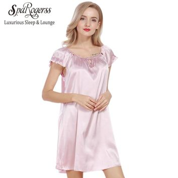 Lace Women Nightgowns Faux Silk Summer Ladies Sleep Lounge Lace Dressing Gown Female Sleep Dress