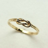 Love Infinity Knot Ring in Gold-double line