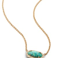 Kendra Scott Elisa Aqua Kyocera Opal Gold Necklace