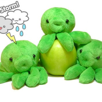 Green octopus stuffed animal toy by CuteStorm on Etsy