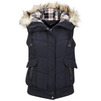 ARCTIC STORY WOMEN'S FUR TRIM GILET - NAVY