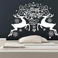 Wall Decals Merry Christmas Snowflakes Reindeer Christmas Decoration Decal Vinyl Sticker Bedroom Home Decor Art Murals MS733