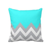 Mint Blue with gray and white Chevron from Zazzle.com