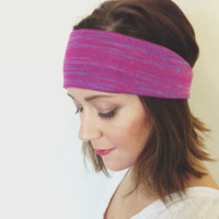 Woman's Hair Accessories Pink Purple Magenta Striped Head Wrap