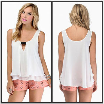womens loose chiffon comfortable tank top sleeveless t-shirts unique vest gift 101