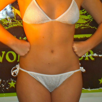 90s GUESS silver white fishnet glitter string bikini, two piece swimsuit, go go dancer (FREE SHIPPING)