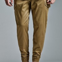 Bullhead Denim Co. Dull Gold Cargo Skinny Jogger Pants - Mens Pants - Gold