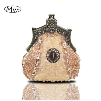HOT 2015 New Evening Bag Handmade Glass Beads Clutch Bag Delicate Banquet Bags Vintage Wedding Party Purse free shipping 03321