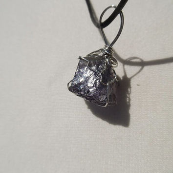Raw amethyst gem stone wire wrapped pendant-black cord necklace