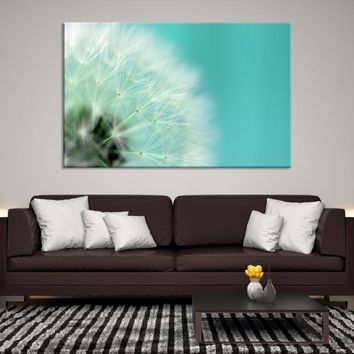 99215 - DANDELION Flower Wall Art Canvas Print, Large Canvas Dandelion Floral Wall Art,