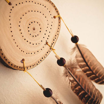 Dream Catcher Mobile - Annual Rings - With Natural Wood, Woodburned Pattern and Natural Brown Feathers - Boho Home Decor, Nursery Mobile