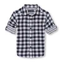 Toddler Boys Roll-Up Long Sleeve Double-Weave Print Button-Down Shirt | The Children's Place