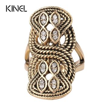 Unique Vintage Wedding Ring Turkey Crystal Jewelry Big Size 10 Rings For Women Lnlay Accessories 2016 New