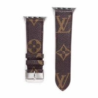 Designer Brown Monogram Apple Watch Leather Bands