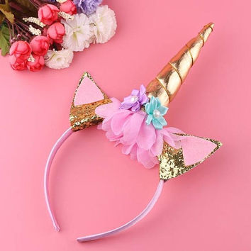Gold Unicorn Horn Headband, Pastel Mint Green, Pink, and Lilac Unicorn Horn - Pastel Party Decor, Mint and Purple Decor, Unicorn Party Decor