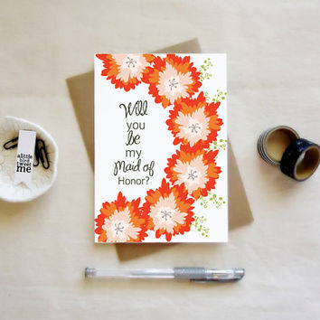 Will you be my bridesmaid Card. Bridesmaid cards. Bridesmaid Proposal. Floral Cards.