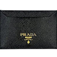 Prada Leather Credit Card Wallet Holder With Box