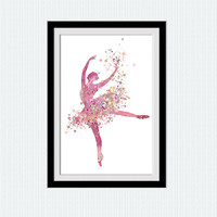 Ballerina art poster Ballerina decor print Ballerina watercolor illustration Dancing little girl poster Gift for birthday Home decor  W189