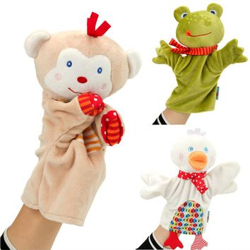 Cute cartoon animal hand puppet Monkey frog duck Plush toy doll baby Comforting towel