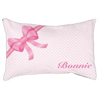 Pink Bow With Pet's Own Name And Polka Dots Dog Bed